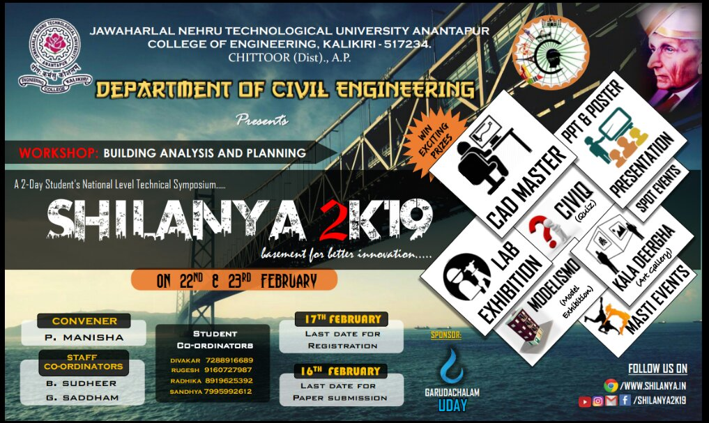 A 2-Day Student's National Level Technical Symposium SHILANYA 2K19 organised by department of Civil on 22nd & 23rd February 2019